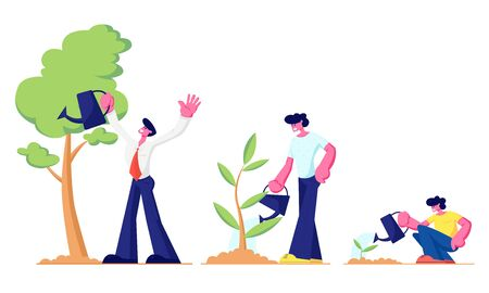 Illustration for Life Cycle, Time Line and Growth Metaphor, Grow Stages of Tree from Seed to Large Plant, Baby, Little Boy, Young Teenager and Adult Man Watering Plants in Garden. Cartoon Flat Vector Illustration - Royalty Free Image