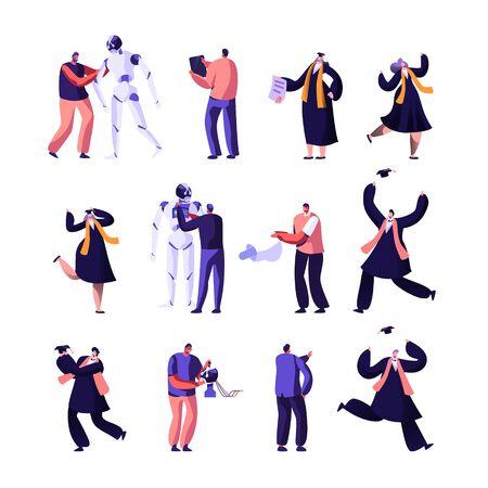 Ilustración de Engineers Making and Programming Robots, University Alumnus Set. Characters in Graduation Gowns Get Diploma, Robotics Hardware and Software, Artificial Intelligence Cartoon Flat Vector Illustration - Imagen libre de derechos