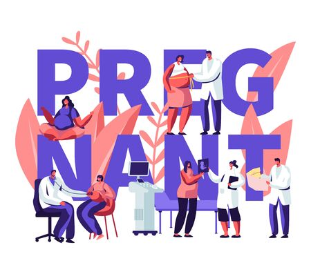 Ilustración de Pregnant Woman at Doctor Appointment in Clinic Concept. Medical Check Up, Healthy Pregnancy, Health Care, Ultrasound, Maternity. Poster, Banner, Flyer, Brochure. Cartoon Flat Vector Illustration - Imagen libre de derechos