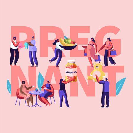 Ilustración de Female Characters Happy Pregnancy Concept. People Hold Vitamins, Baby Toys, Healthy Nutrition, Pregnant Women Meet in Cafe, Shopping. Poster, Banner, Flyer, Brochure. Cartoon Flat Vector Illustration - Imagen libre de derechos