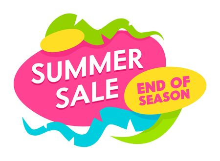 Illustration for Summer Sale End of Season Banner with Abstract Shapes and Elements Isolated on White Background. Summertime Holiday, Festive Shopping, Discount Poster for Store Offer. Cartoon Flat Vector Illustration - Royalty Free Image