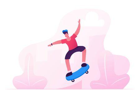 Ilustración de Young Boy in Modern Clothing and Cap Jumping on Skateboard. Skateboarder Male Character Outdoors Activity. Skateboarding People Making Stunts on Board in Skatepark. Cartoon Flat Vector Illustration - Imagen libre de derechos