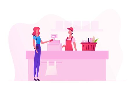 Ilustración de Female Customer Character with Goods in Shopping Basket Stand in Supermarket or Grocery Queue at Cashier Desk with Seller Paying for Purchases. Sale, Consumerism Cartoon Flat Vector Illustration - Imagen libre de derechos