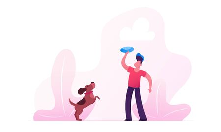 Illustrazione per Boy Walking with Dachshund Dog Outdoors. Male Character Playing with Pet Spending Time at Summertime Park Relaxing. Leisure, Communicating with Home Animal. Cartoon Flat Vector Illustration - Immagini Royalty Free