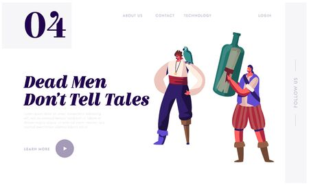 Illustration pour Pirate Story Website Landing Page. Young Men Wearing Old Fashioned Dressing with Wooden Leg Prosthesis and Parrot on Shoulder Hold Bottle with Message Web Page Banner. Cartoon Flat Vector Illustration - image libre de droit