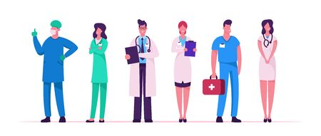 Illustrazione per Hospital Healthcare Staff Set, Doctors in Medical Robe with Stethoscope Holding Notebook, Surgeon Character in Uniform, Nurse Clinic, Medicine Profession Occupation Cartoon Flat Vector Illustration - Immagini Royalty Free