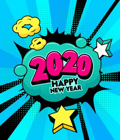 Illustration pour 2020 Happy New Year Banner with Comic and Expression Speech Bubble with Typography. Vector Bright Dynamic Cartoon Illustration in Hand Drawn Retro Comic Book Pop Art Style on Halftone Background - image libre de droit