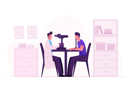 Illustration pour Ophthalmologist Doctor Test Myopia Eye on Special Device. Oculist Checkup Optometry for Eyeglasses. Medical Optician Treatment Patient Foresight Focus Correction. Cartoon Flat Vector Illustration - image libre de droit