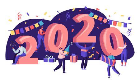 Ilustración de Tiny People Having Fun and Giving Gifts at Huge 2020 Numbers. Greeting Card for Happy New Year Concept. Congratulations, Invitation Poster, Banner, Flyer, Brochure. Cartoon Flat Vector Illustration - Imagen libre de derechos