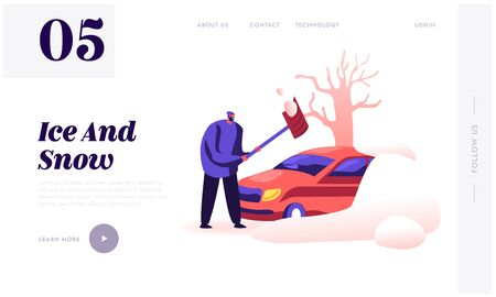 Illustration pour City After Blizzard Website Landing Page. Man with Shovel Cleaning Snow Filled Backyard Outside his Car Covered with Snowdrift. Winter Time Weather Web Page Banner. Cartoon Flat Vector Illustration - image libre de droit