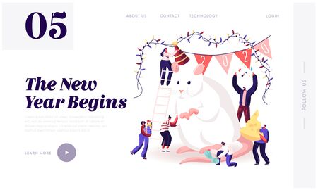 Ilustración de 2020 New Year Celebration Website Landing Page. Tiny Male and Female Characters Caring of Huge White Mouse Symbol - Imagen libre de derechos