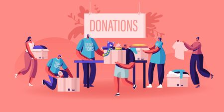Illustration pour Donation and Charity Concept. Male and Female Characters Bringing Boxes with Different Things and Clothes for Poor People who Appears in Complicated Life Situation. Cartoon Flat Vector Illustration - image libre de droit