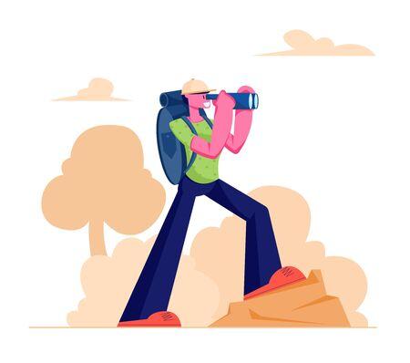 Ilustración de Hiking Man Conducting Active Lifestyle Trekking with Binocular and Backpack Walking in Mountains or Hills, Camping or Backpacking Outdoor Activity Direction Traveling Cartoon Flat Vector Illustration - Imagen libre de derechos
