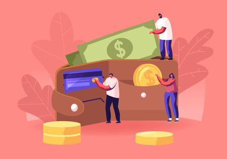 Ilustración de Successful Business People Put Money in Huge Purse. Tiny Men and Women Characters Holding Huge Golden Coins and Currency Bills. Savings, Cash and Credit Cards Concept. Cartoon Flat Vector Illustration - Imagen libre de derechos