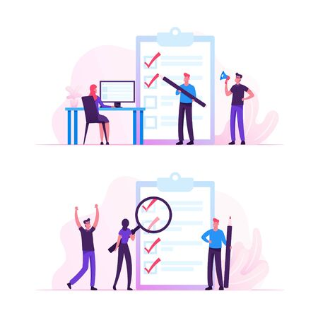 Illustration pour Business People Stand at Huge Clipboard with Check List Filling Marks by Pen Searching Solution and Thinking New Idea. Scheduling, Inspiration Creative Process Concept Cartoon Flat Vector Illustration - image libre de droit