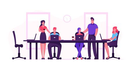 Ilustración de Business People Sitting at Desk during Board Meeting Discussing Idea in Office. Team Project Development, Teamwork - Imagen libre de derechos