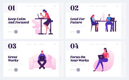Ilustración de People Working in Office Website Landing Page Set. Creative Employees or Freelancers Work on Laptops Sitting in Coworking Area. Workflow Process Web Page Banner. Cartoon Flat Vector Illustration - Imagen libre de derechos