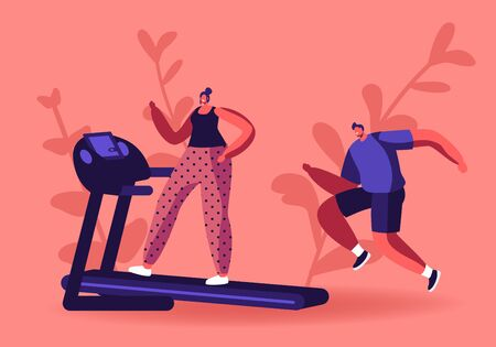 Ilustración de Active Sport Life. Woman and Man Running on Treadmill. Athletic Young People in Sportswear and Sneakers Exercising to be Fit and Slim. Fitness and Healthy Lifestyle Cartoon Flat Vector Illustration - Imagen libre de derechos