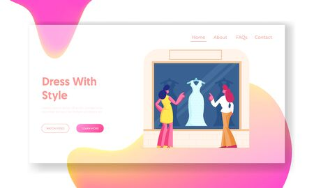 Illustration pour Girls Choose Garment Standing at Apparel Boutique Website Landing Page. Young Stylish Women Stand at Showcase Looking on Fashioned Dress in Store Web Page Banner. Cartoon Flat Vector Illustration - image libre de droit