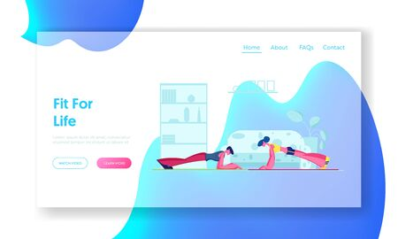 Ilustración de Family Couple Fitness Exercise Website Landing Page. Young Sporty Woman and Man Doing Plank at Home. Sports Training Endurance, Healthy Sport Workout Web Page Banner. Cartoon Flat Vector Illustration - Imagen libre de derechos