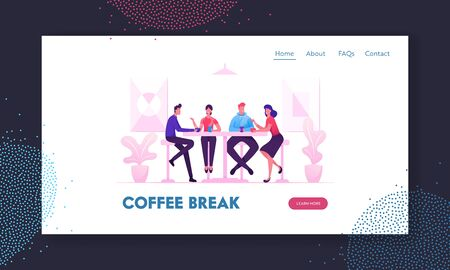 Ilustración de Friends Meeting in Cafe or Bar Website Landing Page. Company of Young People Having Coffee or Meal in Modern Restaurant Communicating and Chatting Web Page Banner. Cartoon Flat Vector Illustration - Imagen libre de derechos
