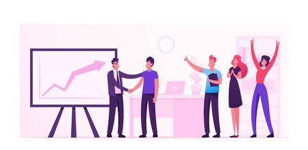 Ilustración de Joyful Office Workers Exulting at Huge Monitor with Growing Graph. Happy Employees in Workplace Celebrating Success - Imagen libre de derechos