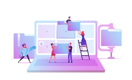 Illustration for Electronic Document Management. Digital Data File Computer Archive Storage System, Information Database Catalog. Business Characters at Huge Laptop with Folders on Screen Cartoon Vector Illustration - Royalty Free Image