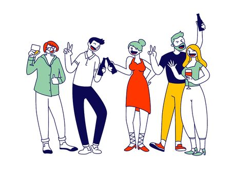 Ilustración de Group of Young Men and Women Holding Glasses and Bottles with Beverages Celebrating Holiday Drink Alcohol Cocktail and Communicating on Birthday Party or Festive Event Cartoon Flat Vector Illustration - Imagen libre de derechos