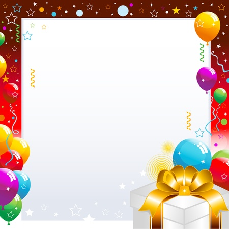 Colorful balloons and gift box isolated on white background illustration.