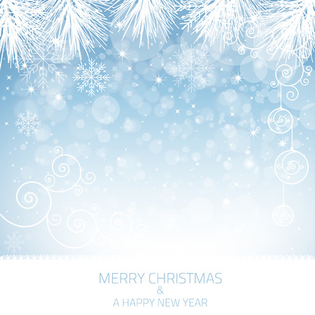 Illustration for A blue snowflake background with many different snowflakes   - Royalty Free Image