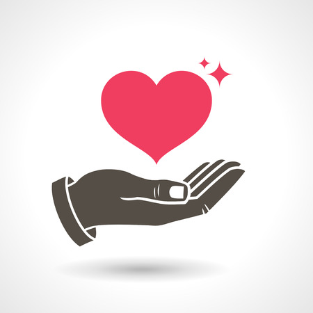 Illustration for Hand Giving Love Symbol. Hand holding heart shape, vector icon. - Royalty Free Image