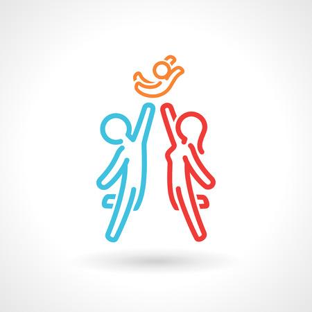 Photo pour Happy family symbol, vector icon. Stylized simple figures. EPS 10 file. - image libre de droit