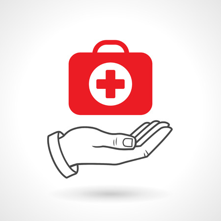 Illustration pour Hand holding a first aid kit. Vector icon, health concept. - image libre de droit