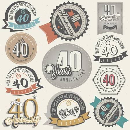 Illustration pour Vintage style 40 anniversary collection  Forty anniversary design in retro style  Vintage labels for anniversary greeting  Hand lettering style typographic and calligraphic symbols for 40 anniversary  - image libre de droit