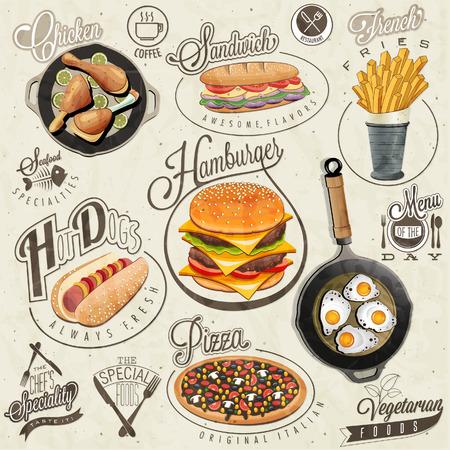Ilustración de Retro vintage style fast food designs. Set of Calligraphic titles and symbols for foods. Pizza, Sandwich, Hot Dog, French Fries, Hamburger, Cheeseburger and Drumstick realistic illustrations. - Imagen libre de derechos