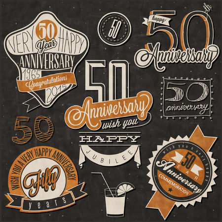 Illustration pour Vintage style 50 anniversary collection. Fifty anniversary design in retro style. Vintage labels for anniversary greeting. Hand lettering style typographic and calligraphic symbols for 50 anniversary. - image libre de droit