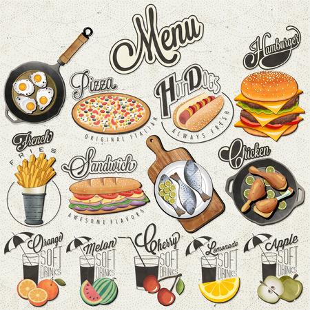 Ilustración de Retro vintage style fast food and drinks designs. Set of Calligraphic titles and symbols for food and drinks. Realistic illustration. Creative vector. - Imagen libre de derechos