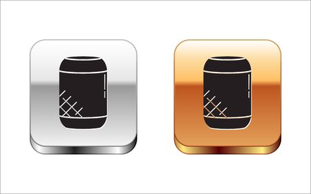 Ilustración de Black Voice assistant icon isolated on white background. Voice control user interface smart speaker. Silver-gold square button. Vector Illustration - Imagen libre de derechos