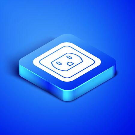 Ilustración de Isometric Electrical outlet in the USA icon isolated on blue background. Power socket. Blue square button. Vector Illustration - Imagen libre de derechos