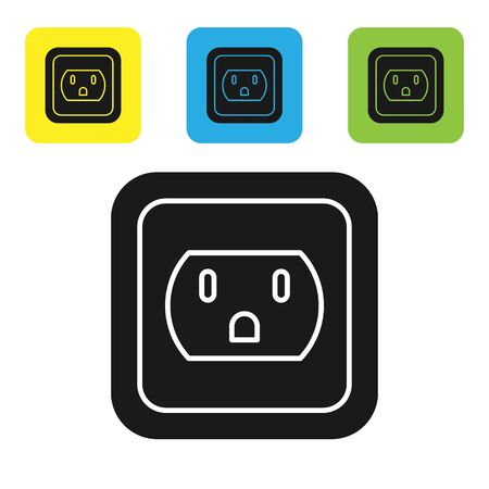 Ilustración de Black Electrical outlet in the USA icon isolated on white background. Power socket. Set icons colorful square buttons. Vector Illustration - Imagen libre de derechos