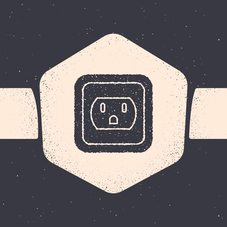 Ilustración de Grunge Electrical outlet in the USA icon isolated on grey background. Power socket. Monochrome vintage drawing. Vector Illustration - Imagen libre de derechos