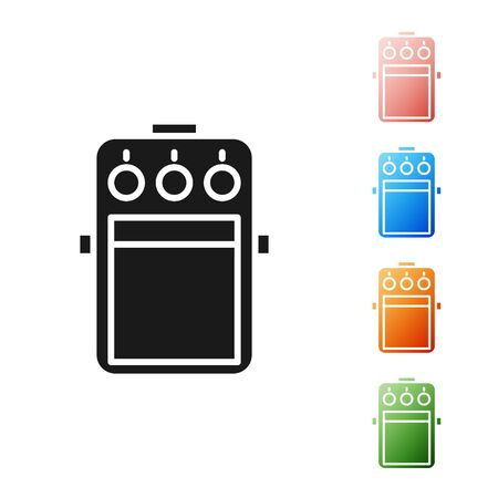 Ilustración de Black Guitar pedal icon isolated on white background. Musical equipment. Set icons colorful. Vector Illustration - Imagen libre de derechos