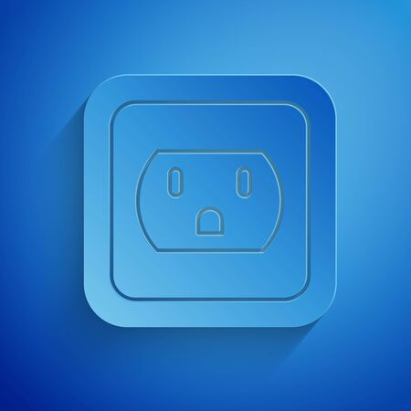 Ilustración de Paper cut Electrical outlet in the USA icon isolated on blue background. Power socket. Paper art style. Vector Illustration - Imagen libre de derechos