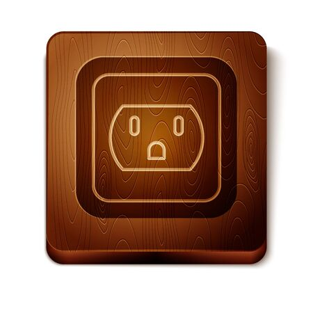 Ilustración de Brown Electrical outlet in the USA icon isolated on white background. Power socket. Wooden square button. Vector Illustration - Imagen libre de derechos