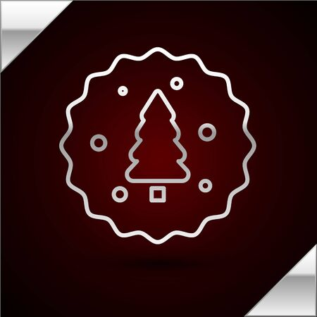 Silver line Cookie or biscuit with chocolate icon isolated on dark red background. Vector Illustration
