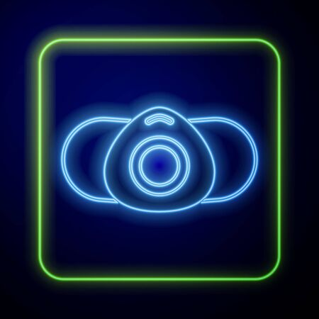 Glowing neon Medical protective mask icon isolated on blue background