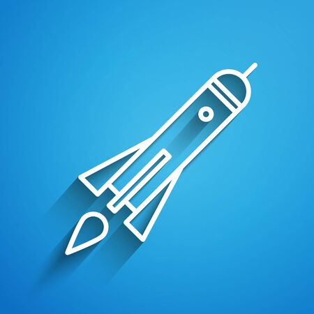 White line Rocket ship with fire icon isolated on blue background. Space travel. Long shadow. Vector Illustration