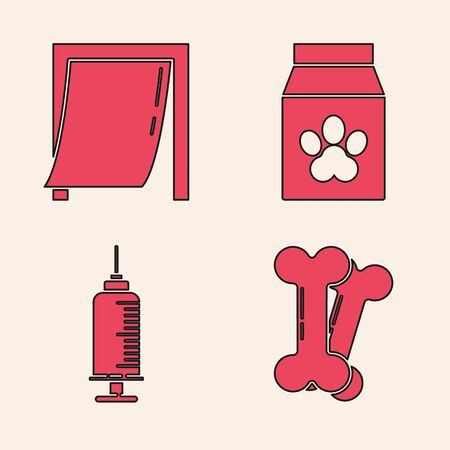 Set Dog bone, Door for pet, Bag of food for pet and Syringe with pet vaccine icon