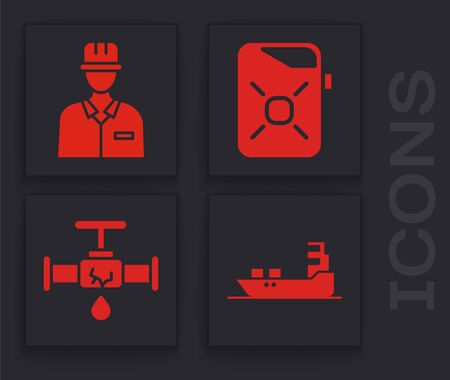 Set Oil tanker ship, Oilman, Canister for motor oil and Broken pipe with leaking water icon