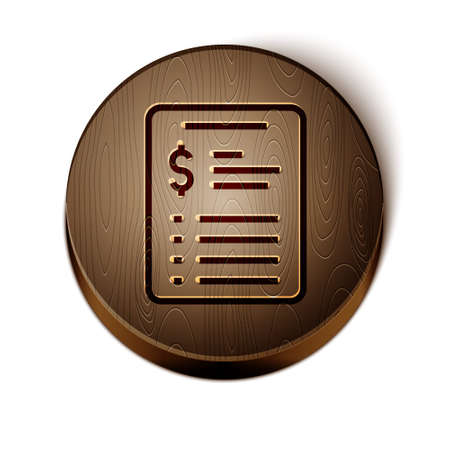 Brown line Grooming salon price list icon isolated on white background. Wooden circle button. Vector